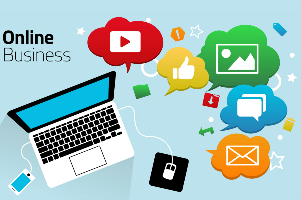 Inbound Marketing - laptop surrounded by social media icons